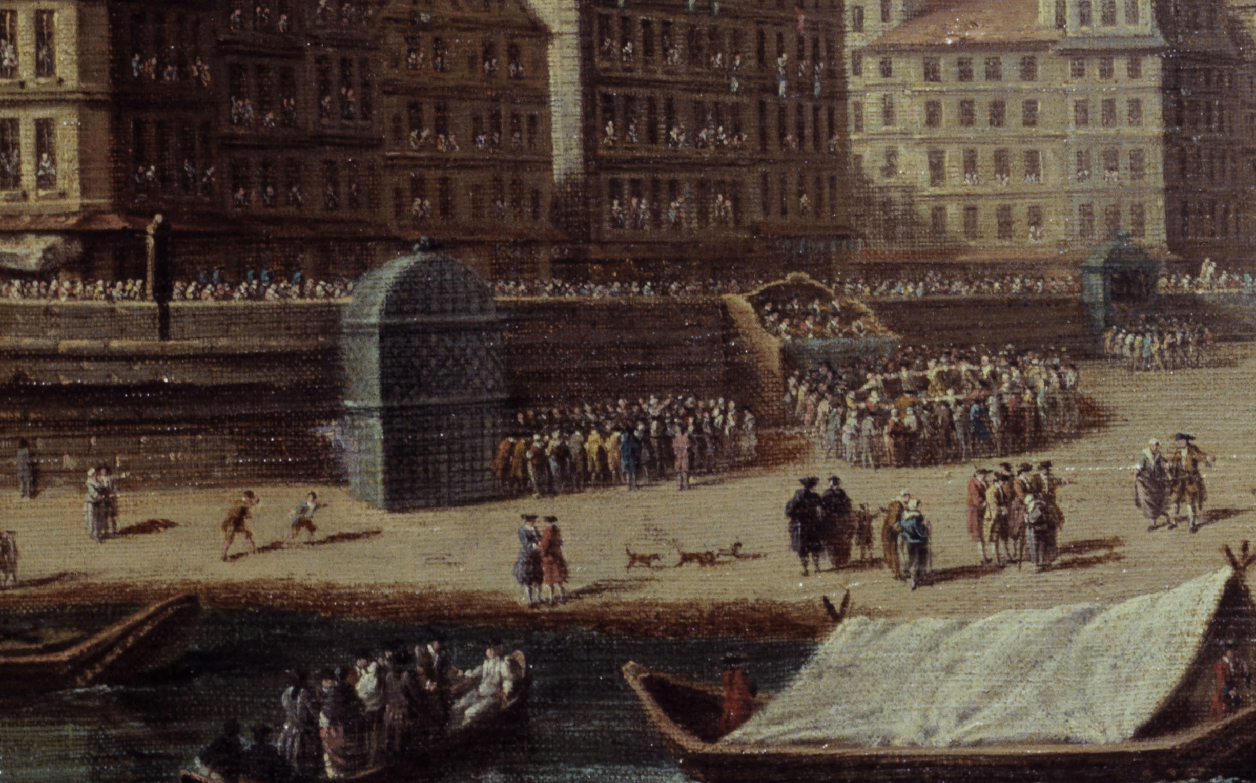 """Nicolas et Jean-Baptiste Raguenet (actifs au XVIIIËme siËcle). """"FÍte donnÈe place de GrËve ‡ l'occasion de la naissance de la princesse Marie-ThÈrËse, fille du Dauphin, en juillet 1746"""". Huile sur toile, 1754. Paris, musÈe Carnavalet."""