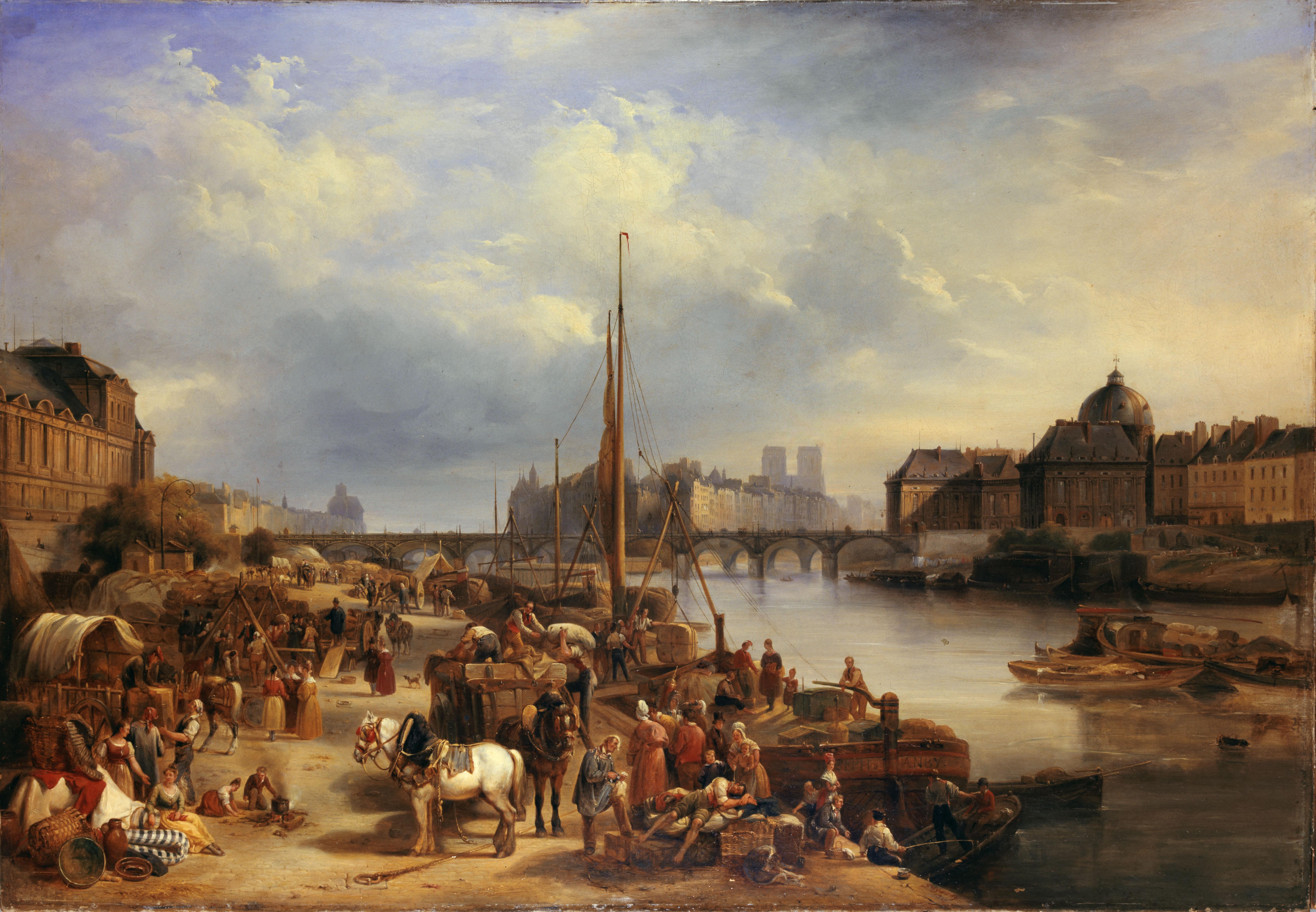 """Jean-Auguste Gagnery (nÈ en 1778). """"Le port Saint-Nicolas"""". Huile sur toile, 1834. Paris, musÈe Carnavalet."""
