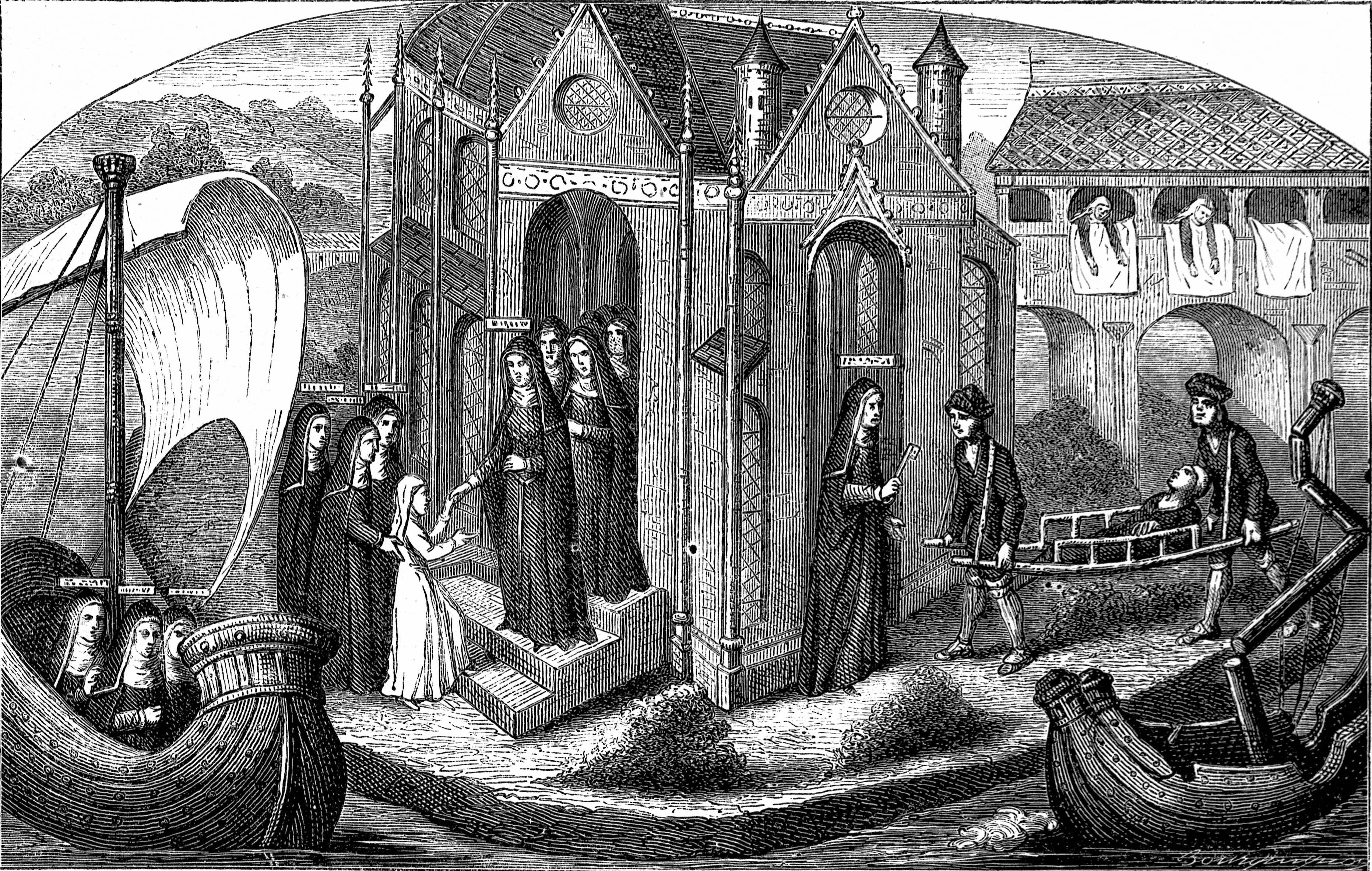 RÈception d'une novice ‡ l'HÙtel-Dieu de Paris. Gravure d'aprËs une miniature du XVËme siËcle.