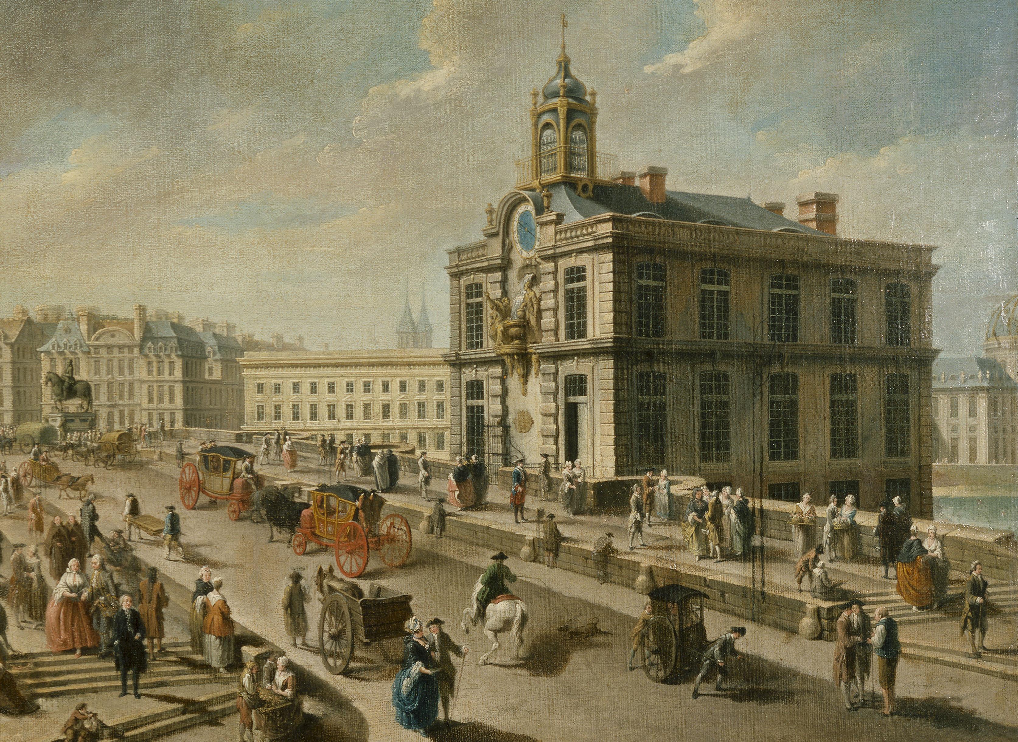 """Nicolas-Jean-Baptiste Raguenet (1715-1793). """"Le Pont-Neuf et la pompe de la Samaritaine, vus du quai de la MÈgisserie, 1777"""". Huile sur toile. Paris, musÈe Carnavalet."""