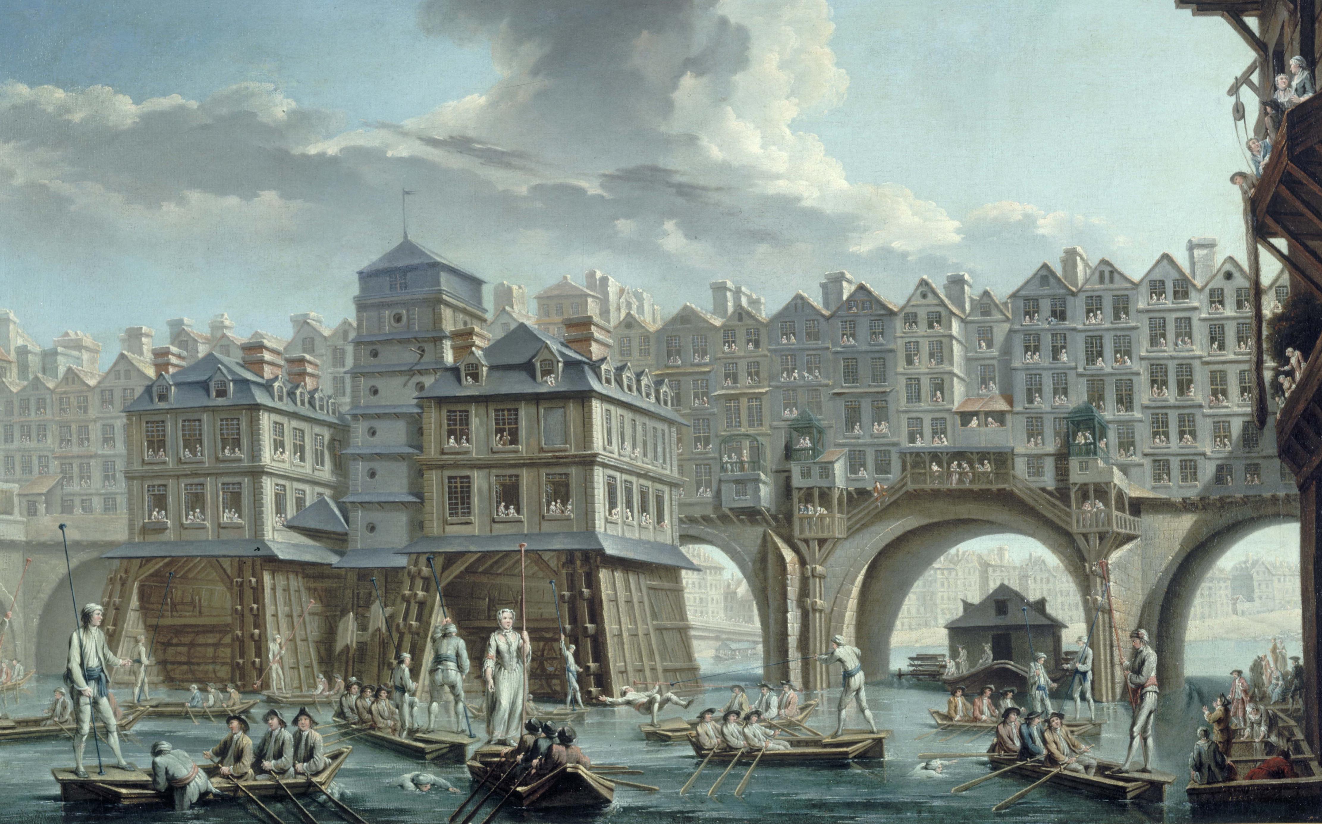 """Nicolas et Jean-Baptiste Raguenet (actifs au XVIIIËme siËcle). """"La joute des mariniers entre le pont Notre-Dame et le pont au Change"""", 1756. Huile sur toile. Paris, musÈe Carnavalet."""
